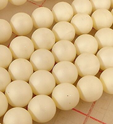 3 strands vintage matte 12mm imitation pearl beads Japan discolored from age
