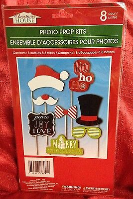 CHRISTMAS Photo Booth Props - Set of 8 - Holiday Party - Create Fun Photos!