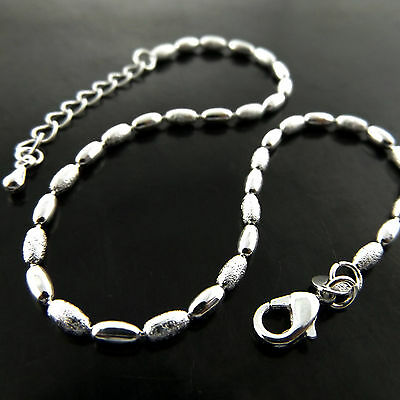 A755 Genuine Real 925 Sterling Silver S/f Ladies Bead Design Xl Bracelet Anklet