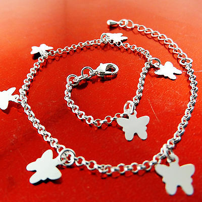 A753 Genuine Real 925 Sterling Silver S/f Girls Butterfly Charm Bracelet Bangle