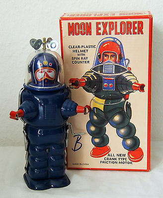 Tintoy, Blechspielzeug, Roboter, Moon Explorer, 18 cm, Blau, OVP, TR2019, China