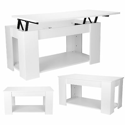 White Lift Up Top Storage Solid Rectangle Coffee Table Shelf Modern Living Room