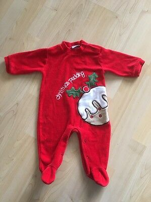Baby Girls Christmas Pudding Outfit Age 3-6 Months Sleepsuit