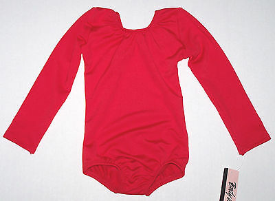 Nwt New Body Wrappers Leotard Leo Long Sleeves LS Stretch Red Nice Cute Girl