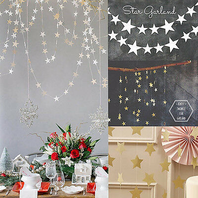 4M Star Shaped Paper Garland For Baby Shower Children Kids Birthday Party Decor