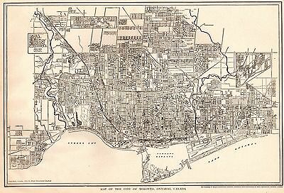 1925 Antique TORONTO Map of Toronto Canada Black and White Gallery Wall Art 3179