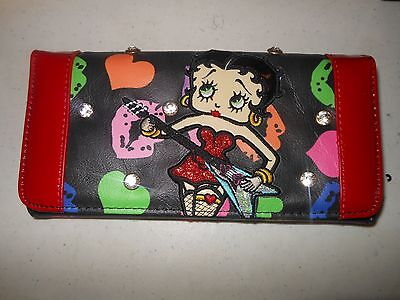 Betty Boop Wallet - Brand New in Box - Black with Red Trim - FREE US SHIPPING!!