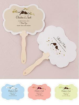 24 - Love Bird Personalized Hand Fan - 4 Colors - Wedding Party Favor