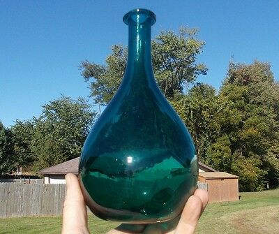 Beautiful Teal Blue Free Blown Pontiled Globular Bottle Crude String Applied Lip