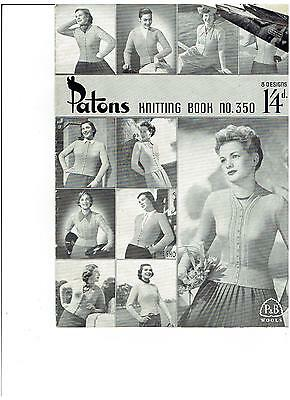 Vintage PATONS  Knitting Book No 350 - 1940's