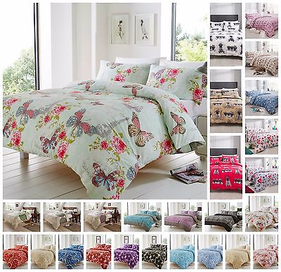 High Quality Bed Linen Duvet Quilt Cover Sets Reversible Vintage Butterfly Print