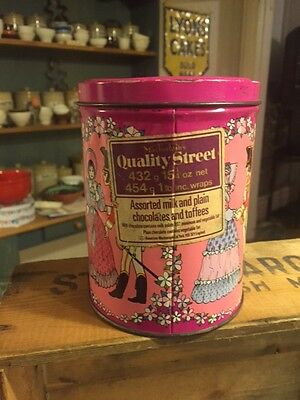 Vintage Tall Mackintosh's Quality Street Chocolates / Confectionary Tin – Pink!