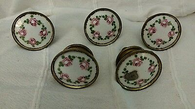LOT OF 5 ANTIQUE BRASS AND guilloche ENAMEL FLORAL DESIGN KNOBS