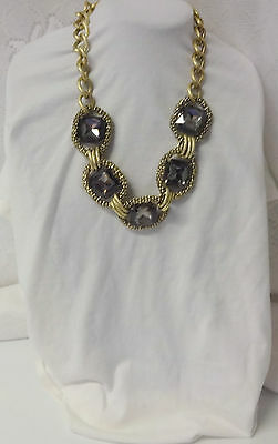 Vintage Massive Chunky Runway Huge Chain Smoky Stone Light Necklace NICE !