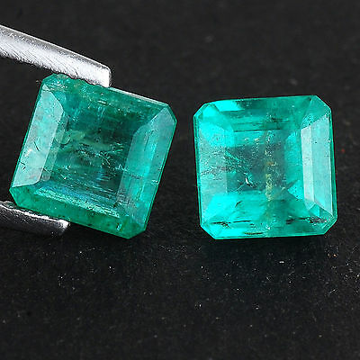 3.29 Cts/2 Pcs Certified Matched Pair Natural Zambian Emerald Rich Green Jewels