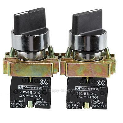 2PCS 10A 600V 2 Position NC+NO Latching Maintained Rotary Selector Switch