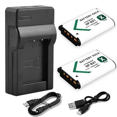 2X Battery + USB Charger For Sony NP-BX1 DSC-WX300 DSC-WX500 RX100 RX1 RX100M4