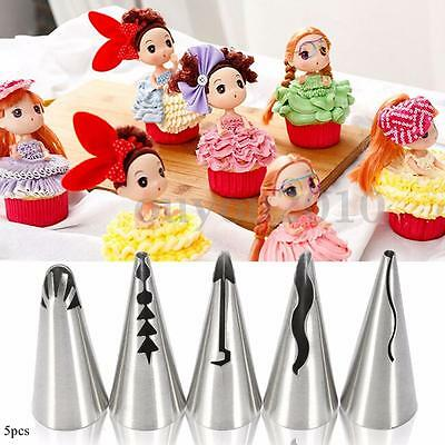 5pcs Russian Skirt Icing Piping Nozzles Tips Flower Cake Decorating Baking Tools