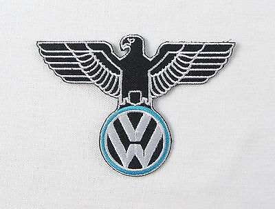 VW German Eagle on Blue and white Iron or sew on embroidered patch camper beetle
