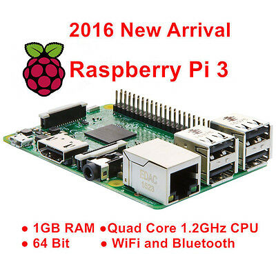 Raspberry Pi 3Model B Mother Board 1GB QUAD Core 64bit CPU ARMv8 1.2GHz Wifi Kit