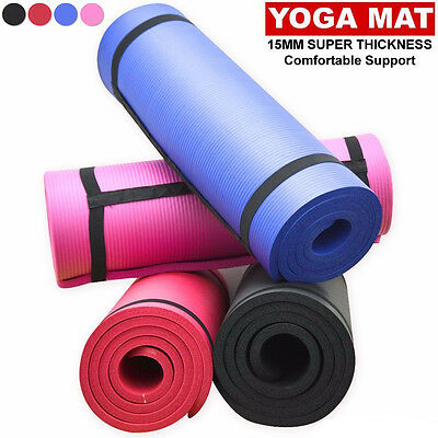 NBR 15mm Extra Thick Yoga Mat Home Fitness Exercise Non-Slip Foam Gym Training