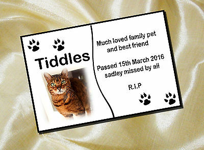 PERSONALISED PET Cat MEMORIAL PLAQUE PHOTO 20cm x 15cm Paws design