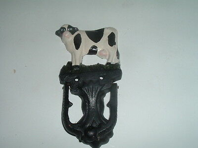 Vintage Hand Painted Cast Iron Farm Cow Door Knocker