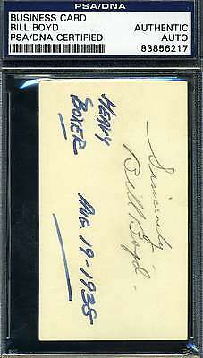 Bill Boyd Psa/dna 1938 Business Card Signed Authentic Autograph