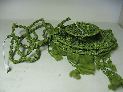 Collectible Retro Green Macrame Swag Lamp Light Works
