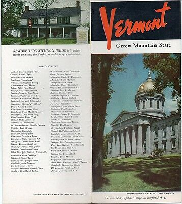 Vintage 1950 Vermont Travel Brochure - Green Mountain State