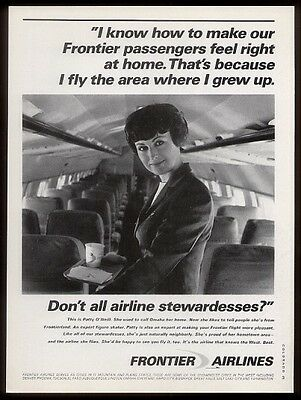 1967 Frontier Airlines pretty stewardess on plane photo vintage print ad