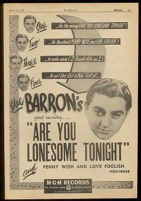 1950 Blue Barron photo Are You Lonesome Tonight trade print ad