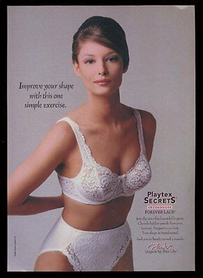 1996 Playtex Secrets lingerie 'Forever Lace' bra panty woman photo print ad