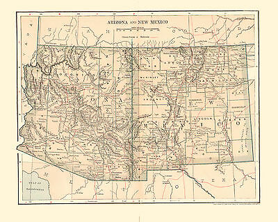 1902 Color Map of the Territories of ARIZONA and NEW MEXICO