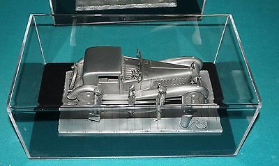 Franklin Mint Pewter Bugatti Royale Raymond Meyers 1977 With Acrylic Disply Case