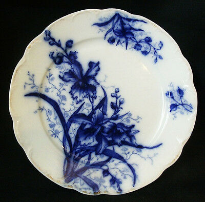 John Maddock & Sons Orchid Flow Blue Salad Plate Worn Gold
