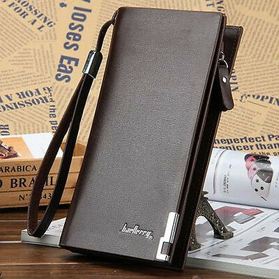 Men's Leather Wallet Bifold ID Card Holder Purse Checkbook Long Clutch Billfold