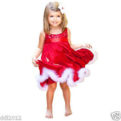 Baby Girls Kids Red Paillette Tutu Dresses Christmas Party Strap Summer Dress
