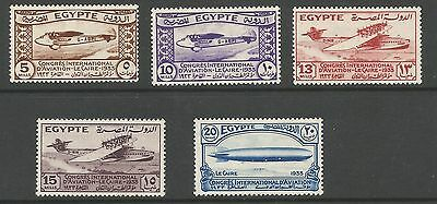 Egypt Sg214-8 The 1933 Aviation Congress Set Of 5 Mounted Mint Cat £90