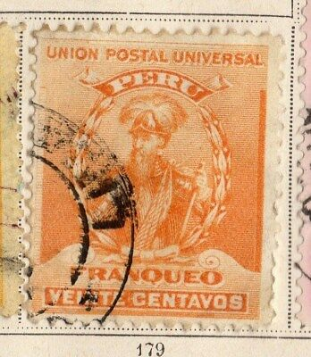 Peru 1896 Early Issue Fine Used 20c. 095327