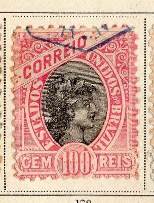 Brazil 1894-95 Early Issue Fine Used 100r. 095399