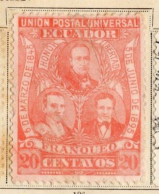 Ecuador 1896 Early Issue Fine Mint Hinged 20c. 095465