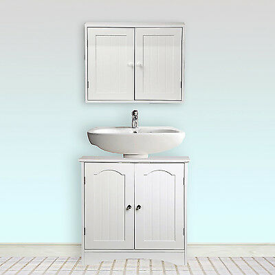White Wooden Bathroom Wall Mount Storage Cabinet Under Sink Cupboard Set 2 Door