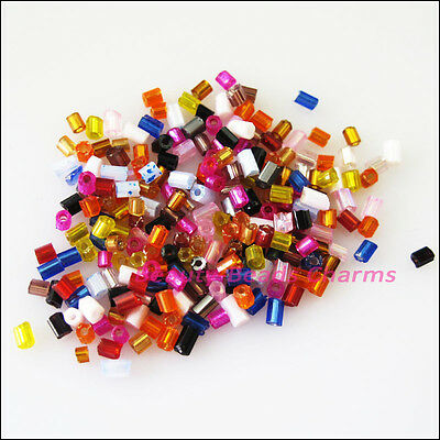 1000 New Charms Tiny Tube Glass Spacer Beads Mixed 2mm