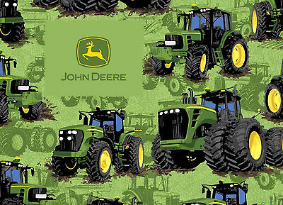 John Deere Logo Farm Squares Plaid Cotton Flannel Fabric Fq 2 75