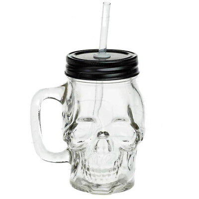 Alchemy Gothic GLASS SKULL DRINKING JAR, Mason Style Handle Lid, Halloween AGJ1