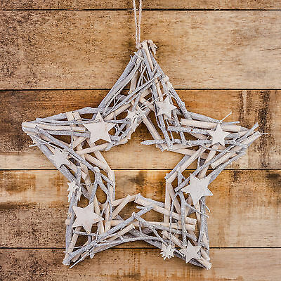 Glittery White-washed Wood & Twig 44cm Star Christmas Wreath Decoration