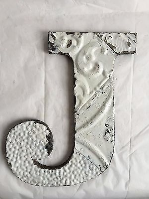 "Antique Tin Ceiling Wrapped 12"" Letter ""J"" Patchwork Metal Mosaic White A8"