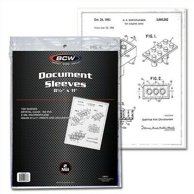 Pack of 100 BCW 8.5 x 11 Soft Poly Archival Document Sleeves 8.5x11 photo print