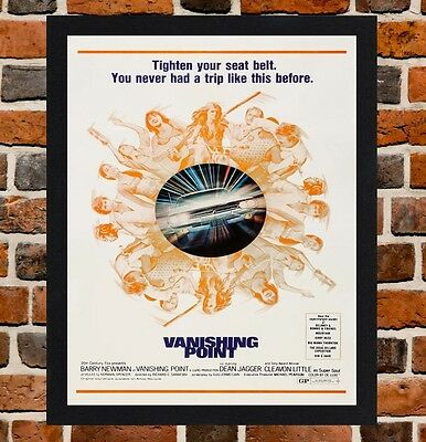 Framed Vanishing Point Movie Poster A4 / A3 Size Mounted In Black / White Frame